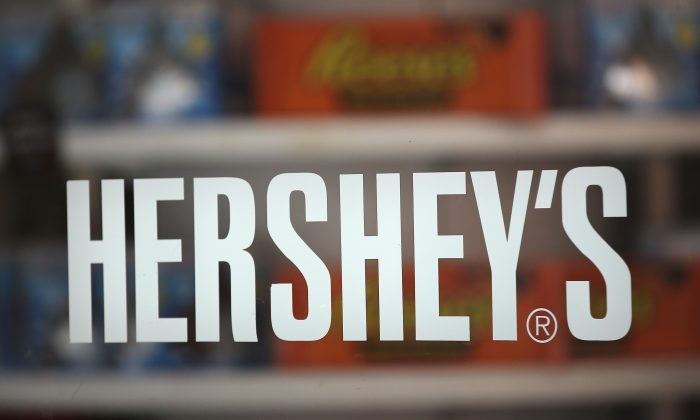A sign marks the entrance to the Hershey's Chocolate World store on July 16, 2014, in Chicago, Illinois. (Scott Olson/Getty Images)