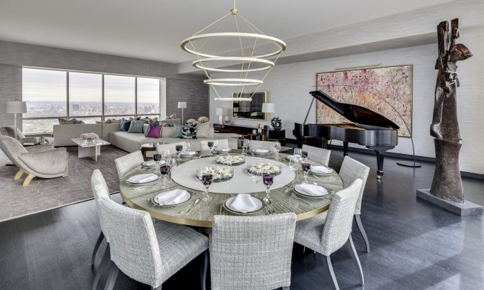 The dining area in the model three-bedroom, half floor, unit at One57. (Marco Ricca)