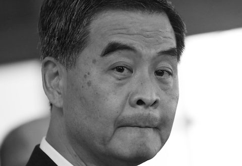 Hong Kong Chief Executive Leung Chun-ying answers questions from media during a press conference in Hong Kong Government House, Thursday, Oct. 16, 2014. (AP Photo/Kin Cheung)