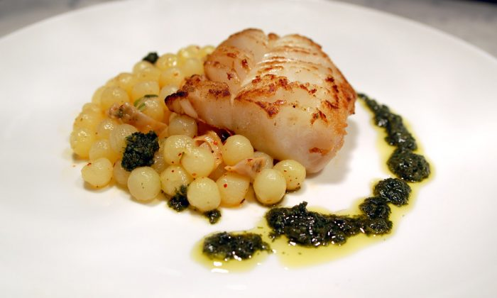 Cod with olive oil-poached potatoes. (Michael Tulipan)