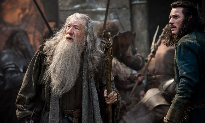"Ian McKellen as Gandalf and Luke Evans as Bard in ""The Hobbit: The Battle of the Five Armie."" (Warner Bros. Pictures and MGM)"