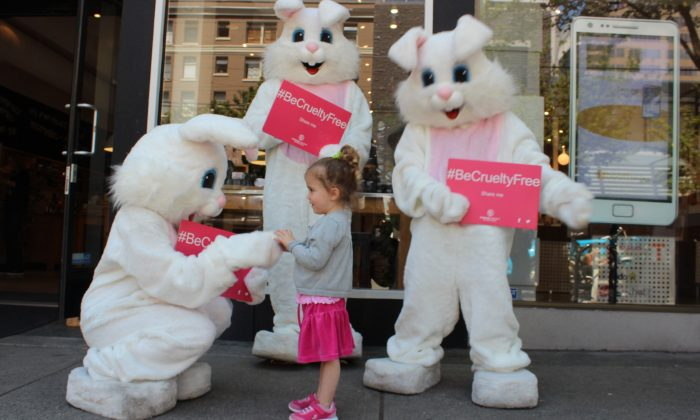 A little girl is enchanted by a Humane Society International Be Cruelty-Free bunny. Be Cruelty-Free is a global campaign to end animal testing for cosmetics. (Aviva Vetter/HSI)