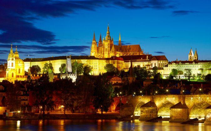 Prague Castle after sunset via Shutterstock*