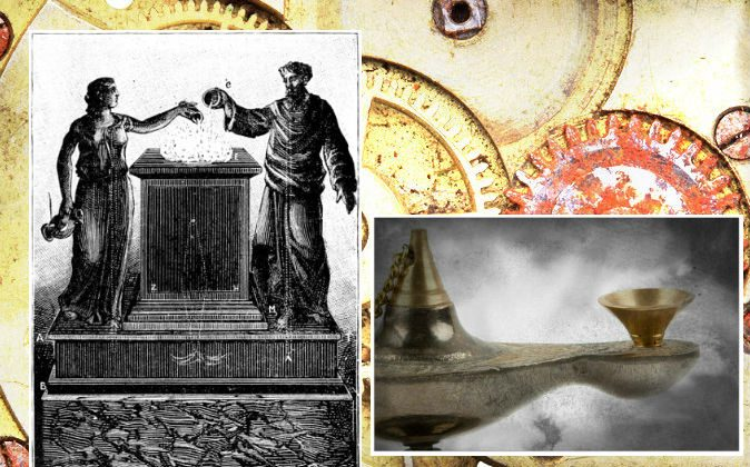 """Left: Marvelous altar, pictured in the book """"Magic, Stage Illusions and Scientific Diversions Including Trick Photography. Right: A file image of an ancient lamp. (Shutterstock; edited by Epoch Times) Background: Gears in a machine. (Shutterstock*)"""