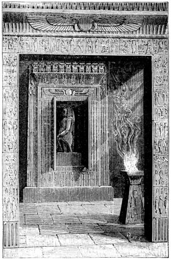 """Temple doors opened when a fire was lit upon the altar, , pictured in the book """"Magic, Stage Illusions and Scientific Diversions Including Trick Photography."""""""