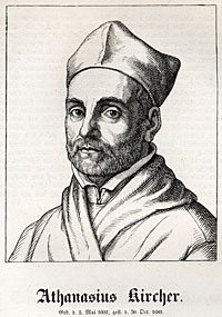 A wood engraving of Athanasius Kircher (1602-1680). (Library of Congress)