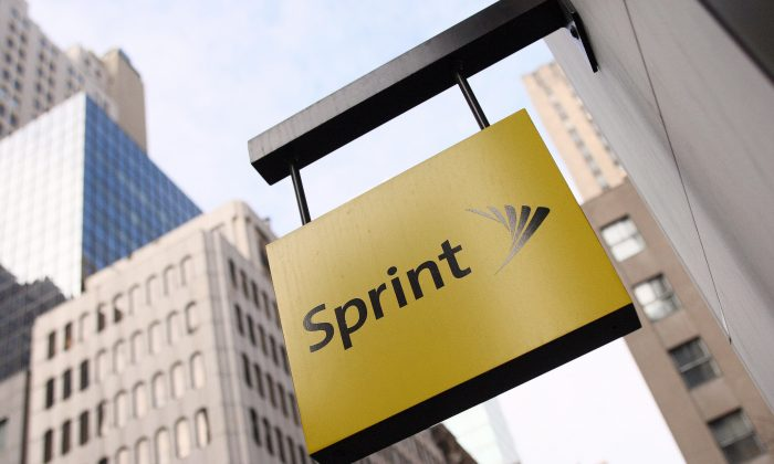 The Sprint logo hangs on the side of their Fifth Avenue store 15 January, 2008 in New York. (Don Emmert/AFP/Getty Images)