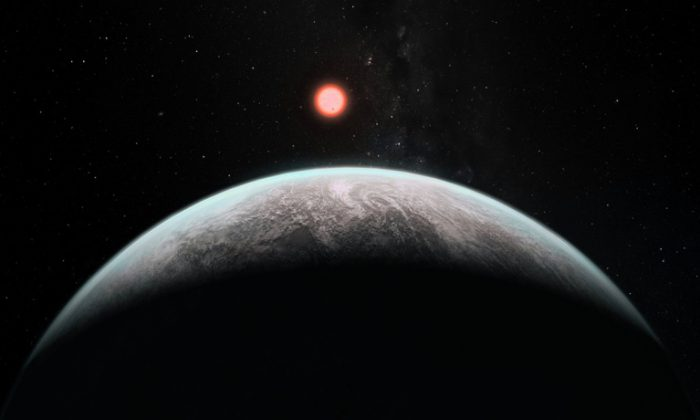 """""""Our own planet gained additional water after this early runaway phase from a late, heavy bombardment of water-rich asteroids,"""" says Ramses Ramirez. """"Planets at a distance corresponding to modern Earth or Venus orbiting these cool stars could be similarly replenished later on."""" Above, an artist's impression of how an infant Earth might look. (Institute for Pale Blue Dots, adapted from image by ESO)"""