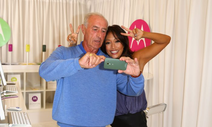 TV personalities Len Goodman and Carrie Ann Inaba attend the HBO Luxury Lounge featuring Motorola and PANDORA Jewelry in honor of The 65th Primetime Emmy Awards at The Four Seasons Hotel on September 21, 2013 in Beverly Hills, California. (Photo by Joe Scarnici/Getty Images for MediaPlacement)