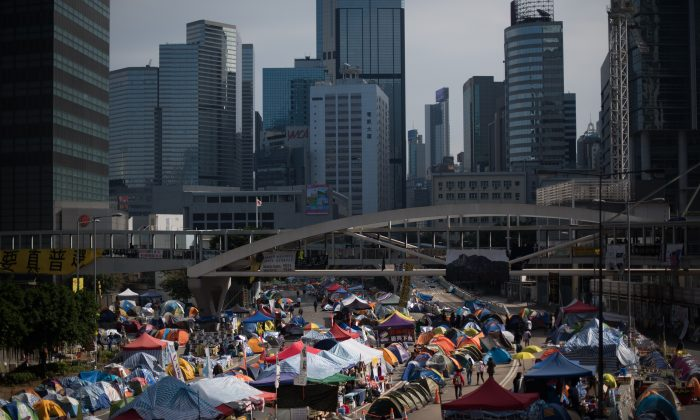 A general view shows tents on an occupied road at the movement's main protest site in the Admiralty district of Hong Kong on December 6, 2014. (Johannes Eisele/AFP/Getty Images)