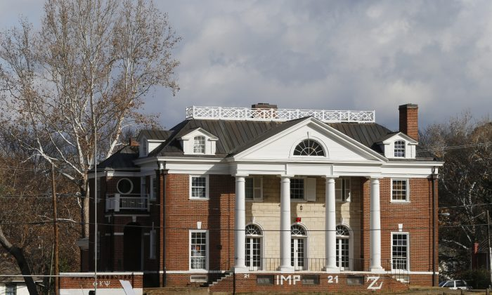 The Phi Kappa Psi fraternity house at the University of Virginia in Charlottesville, Va., Monday, Nov. 24, 2014. A Rolling Stone article last week alleged a gang rape at the house, but later said it isn't sure what happened. (AP Photo/Steve Helber)
