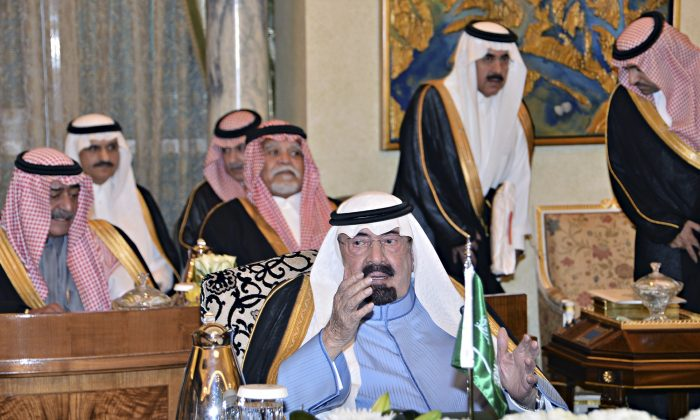 In this Sunday, Nov. 16, 2014 photo provided by the Saudi Press Agency, Saudi King Abdullah meets with rulers from the six-nation Gulf Cooperation Council member-states in an emergency session in Riyadh, Saudi Arabia. (AP Photo/SPA)
