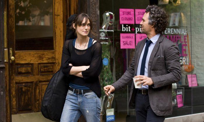 Keira Knightley and Mark Ruffalo co-star as music collaborators Gretta and Dan in Begin Again