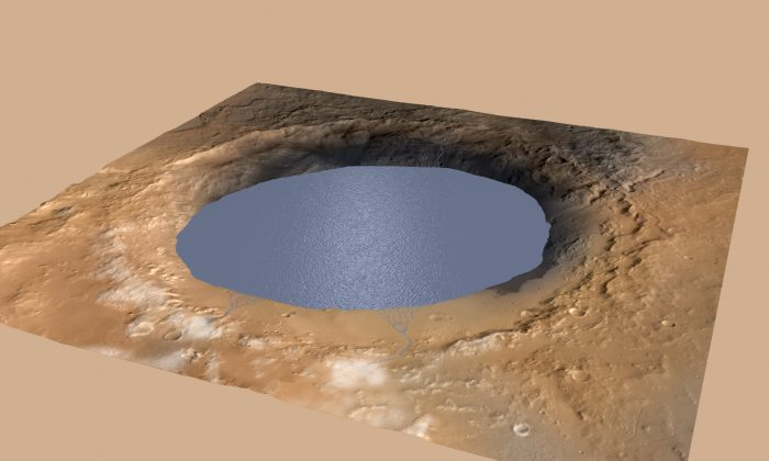 This illustration depicts a lake of water partially filling Mars' Gale Crater, receiving runoff from snow melting on the crater's northern rim. (NASA.gov)