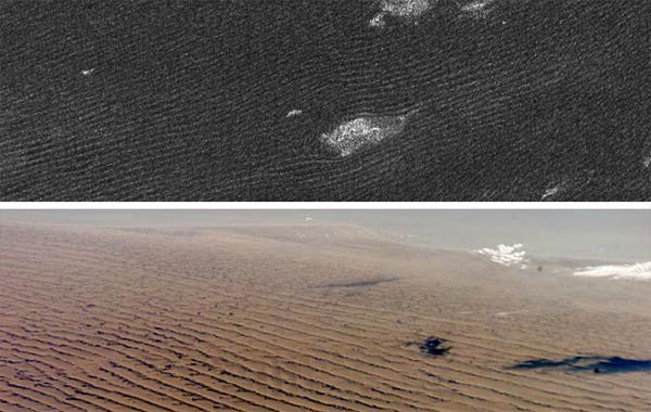 Cassini radar sees sand dunes on Saturn's giant moon Titan (upper photo) that are sculpted like Namibian sand dunes on Earth (lower photo). The bright features in the upper radar photo are not clouds but topographic features among the dunes.(NASA)