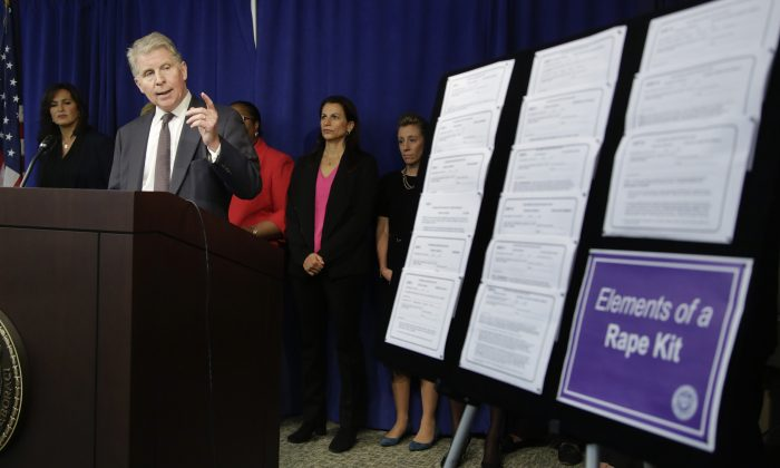 Manhattan district attorney Cyrus Vance Jr. speaks about the $35 million he is pledging in funding to eliminate the backlog of untested rape kits in New York City, on Nov. 12, 2014. (AP Photo/Julie Jacobson)