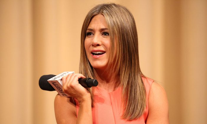 Actress Jennifer Aniston speaks onstage during a Q&A following the screening of 'Cake' during the 2014 Variety Screening Series at ArcLight Hollywood on November 21, 2014 in Hollywood, California. (Photo by Imeh Akpanudosen/Getty Images)