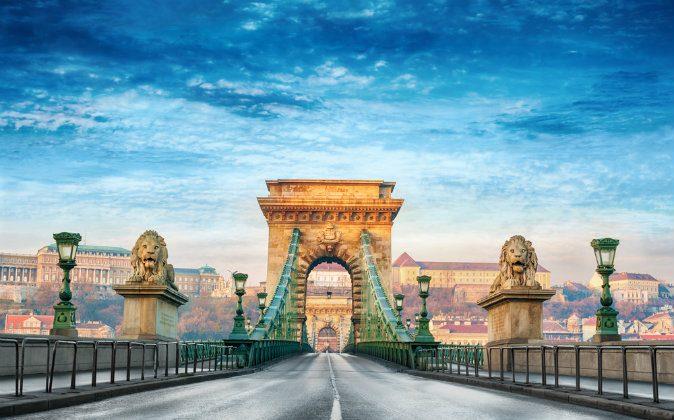 Chain bridge in Budapest, Hungary via Shutterstock*