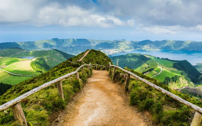 Walking path leading to a view on the lakes of Sete Cidades via Shutterstock*