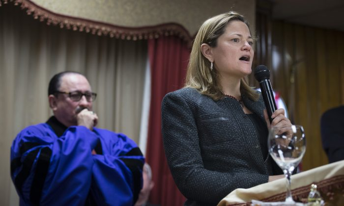 New York City Council Speaker Melissa Mark-Viverito at the Church of God of Third Avenue in the East Harlem neighborhood of New York on March 16, 2014. Viverito will ask the city's new police watchdog to investigate how police track abuse complaints against officers. (AP Photo/John Minchillo)