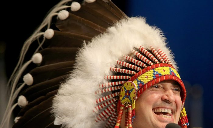 National chief Perry Bellegarde speaks after being elected on the first ballot at the Assembly of First Nations election in Winnipeg on Dec. 10, 2014. (The Canadian Press/Trevor Hagan)