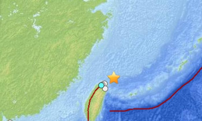 A moderate, 6.1-magnitude earthquake struck in waters off Taiwan on Wednesday near Taipei. (USGS)
