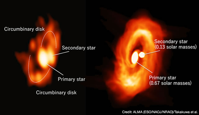 Comparison of the disks in simulation and observation. The right panel shows the disk image simulated with ATERUI, and the left panel the real ALMA image. (National Astronomical Observatory of Japan)