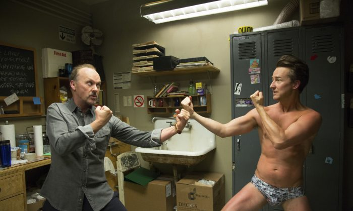"This image released by Fox Searchlight Pictures shows Michael Keaton, left, and Edward Norton in a scene from ""Birdman,"" which won the Academy Award for Best Picture on Sunday.  (AP Photo/Fox Searchlight Pictures)"