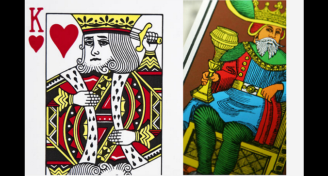 Left: King of Hearts. Right: King of Cups tarot card. (Shutterstock*)