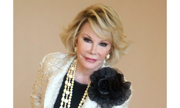"""Joan Rivers in Cannes, southeastern France, on Oct. 5, 2009. According to Rivers's 2014 will, the late comedian made her daughter Melissa Rivers her will's executor with """"the broadest and most absolute permissible direction."""" (AP Photo/Lionel Cironneau)"""