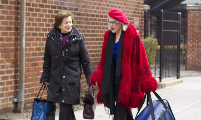 Marcia Stein and Gael Greene en  route to deliver the 50 millionth Citymeal in New York, Dec. 11, 2014.