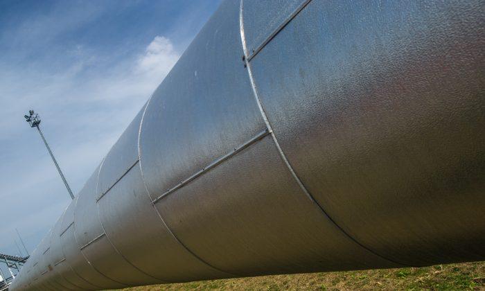 Gas pipes at the gas compressor station in Velke Kapusany, Slovakia, on Sept. 2, 2014. (Joe Klamar/AFP/Getty Images)