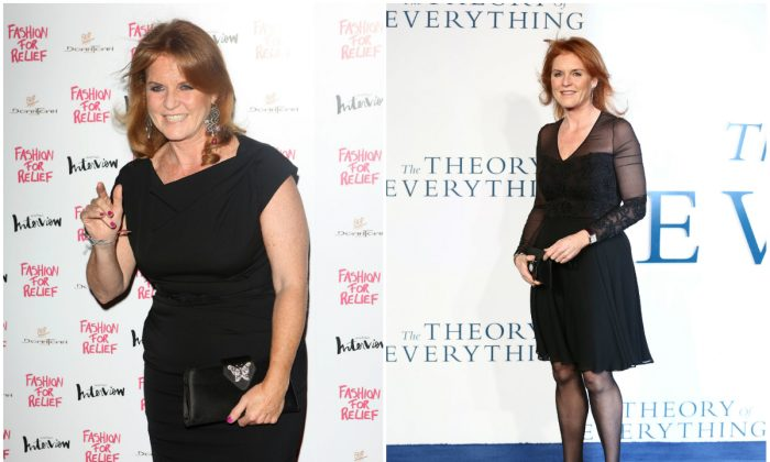 Left, Britain's Sarah, Duchess of York, poses as she arrives for the UK premiere of the film 'The Theory of Everything' in London on December 9, 2014; and right, Sarah Ferguson attends Fashion for Relief a Charity Dinner on August 9, 2012 in London, England. (Getty Images)