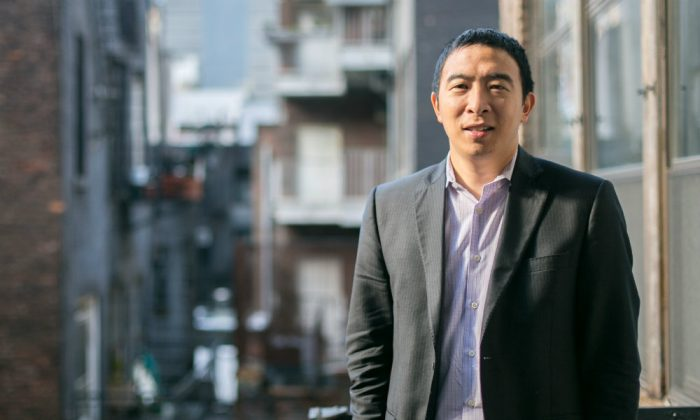 Andrew Yang, CEO of Venture for America, outside his office in Manhattan on Nov. 24, 2014. Venture for America is a fellowship program for recent college graduates to learn how to excel in startup companies and then progress as successful entrepreneurs. (Benjamin Chasteen/Epoch Times)