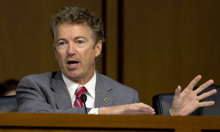 Sen. Rand Paul (R-Ky.) speaks on Capitol Hill in Washington in this Sept. 17, 2014 file photo. (AP Photo/Carolyn Kaster, File)