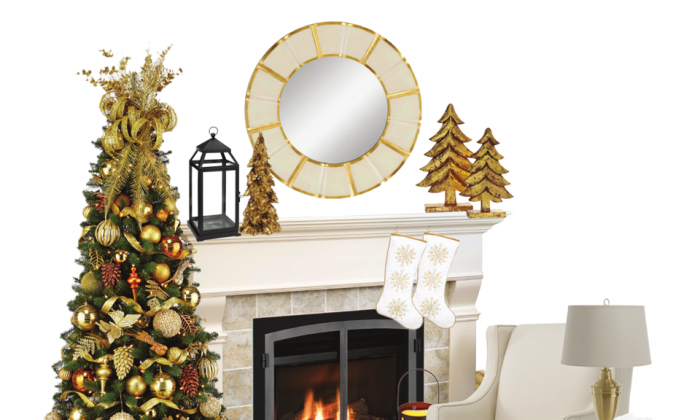 A design board created by Christina Marzilli pulls together elements of white, cream, gold, copper, and brass for a classic holiday décor. (CHT Media)