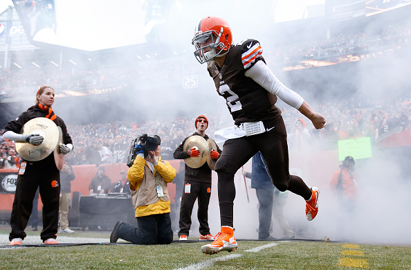 CLEVELAND, OH - DECEMBER 14: Johnny Manziel #2 of the Cleveland Browns runs onto the field during introductions prior to the game against the Cincinnati Bengals at FirstEnergy Stadium on December 14, 2014 in Cleveland, Ohio. (Photo by Joe Robbins/Getty Images)