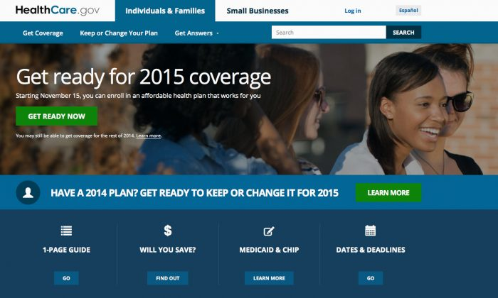 A screen shot shows the home page of HealthCare,gov, a federal government website managed by the U.S. Centers for Medicare & Medicaid Service on Oct. 15, 2014. (AP Photo, File)