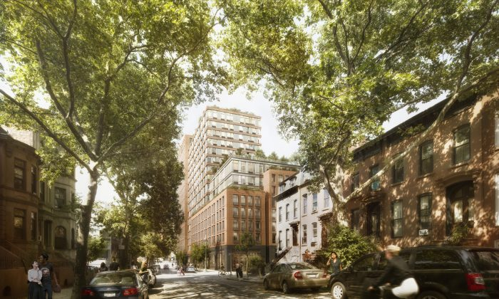 Rendering of the residential building at 535 Carlton Ave. in Prospect Heights, Brooklyn, New York City. The development broke ground on Monday, Dec. 15, 2014 as the first fully affordable apartment building in the Pacific Park (formerly called Atlantic Yards) development project. (COOKFOX)