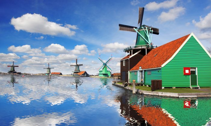 Traditional Dutch windmills via Shutterstock*