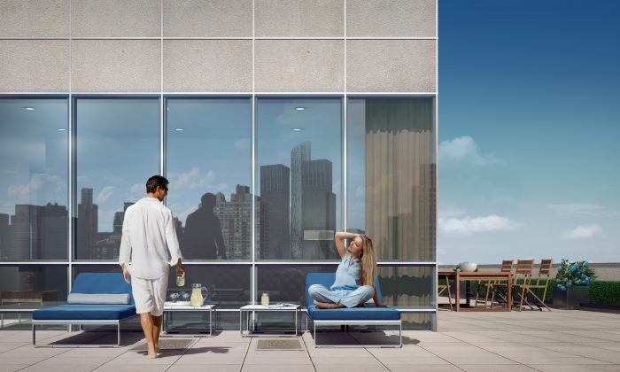 Rendering of the private terrace outside a premium tower residence (17B) at One Riverside Park on Manhattan's Upper West Side. (Credit: Extell Development Company)