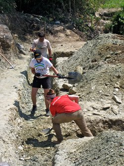 Laying the foundation of a new village school in Nepal. (Angela Allman)
