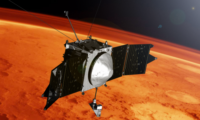 NASA's MAVEN mission is observing the upper atmosphere of Mars to help understand climate change on the planet. MAVEN entered its science phase on Nov. 16, 2014. (NASA's Goddard Space Flight Center)