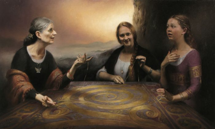 """""""The Tapestry of Life,"""" 2012, by Cornelia Hernes, 70 by 41 inches. Oil on linen. (Courtesy of Cornelia Hernes)"""
