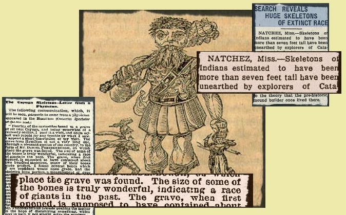 """Newspaper clippings describe findings of alleged giant bones. Background: Title page of """"Jack the Giant Killer."""" (Wikimedia Commons)"""