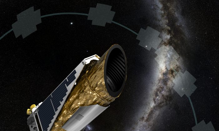 The artistic concept shows NASA's planet-hunting Kepler spacecraft operating in a new mission profile called K2. Using publicly available data, astronomers have confirmed K2's first exoplanet discovery proving Kepler can still find planets. (NASA Ames/JPL-Caltech/T Pyle)