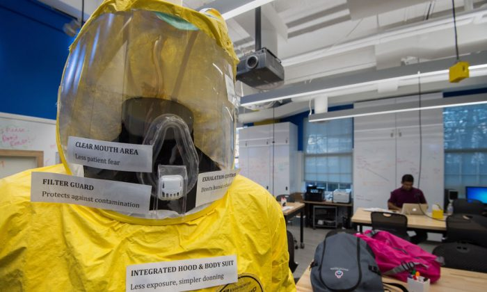 A new and improved prototype bio-hazard suit specifically targeted for viral outbreaks such as Ebola is seen at the Johns Hopkins Biomedical Engineering Laboratory for Innovation and Design on Dec. 18, 2014. (Paul J. Richards/AFP/Getty Images)