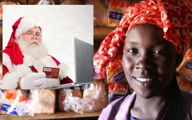 Left: Santa (Shutterstock*) Right: One of the women you can find out about and sponsor on Kiva.  (Hodag, CC BY-NC-ND)