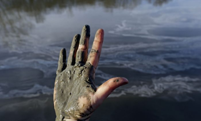 Amy Adams, North Carolina campaign coordinator with Appalachian Voices, shows her hand covered with wet coal ash from the Dan River swirling in the background, in Danville, Va., Feb. 5, 2014. (AP Photo/Gerry Broome)