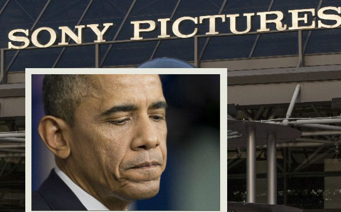 Left: President Barack Obama pauses during a news conference in Washington, Dec. 19, 2014. (AP Photo/Pablo Martinez Monsivais) Background: An exterior view of the Sony Pictures Plaza building is seen in Culver City, Calif., Friday, Dec. 19, 2014. (AP Photo/Damian Dovarganes)